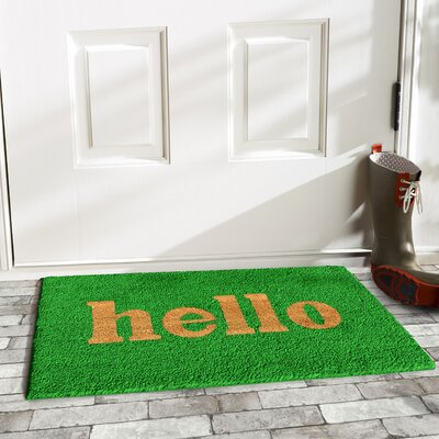 Hello Doormat Mat Size: 2 x 3, Color: Green