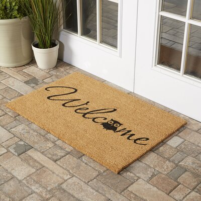 Barn Owl Welcome Doormat Rug Size: Rectangle 2 x 3