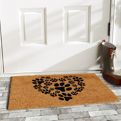 Lattimore Heart Paws Doormat Mat Size: Rectangle 2 x 3
