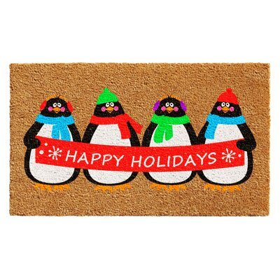 Holiday Penguines Doormat