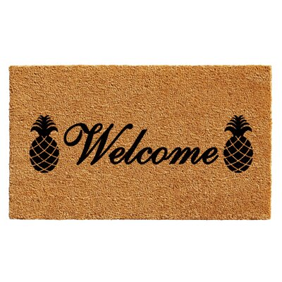 Adrianne Welcome Pineapples Doormat Rug Size: Rectangle 2 x 3