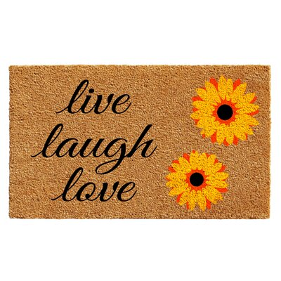 Bowden Sunflower Live Laugh Love Doormat Rug Size: 2 x 3