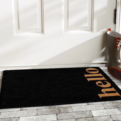 Helsley Vertical Hello Doormat Rug Size: 14 x 24, Color: Black/Natural