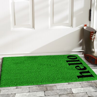 Helsley Vertical Hello Doormat Mat Size: 2 x 3, Color: Green/Black