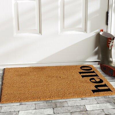 Helsley Vertical Hello Doormat Rug Size: 14 x 24, Color: Natural/Black