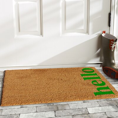 Helsley Vertical Hello Doormat Mat Size: 2 x 3, Color: Natural/Green