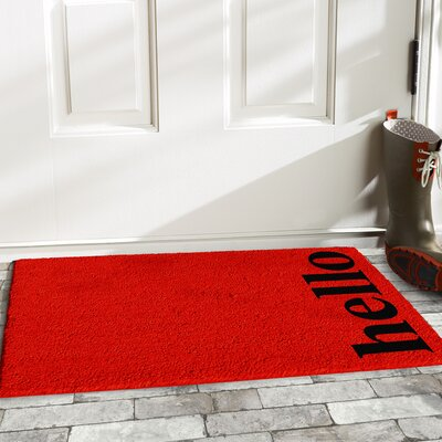 Helsley Vertical Hello Doormat Rug Size: 14 x 24, Color: Red/Black