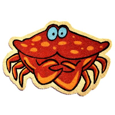 Crab Doormat Mat Size: Rectangle 2 x 3, Color: Red/Yellow