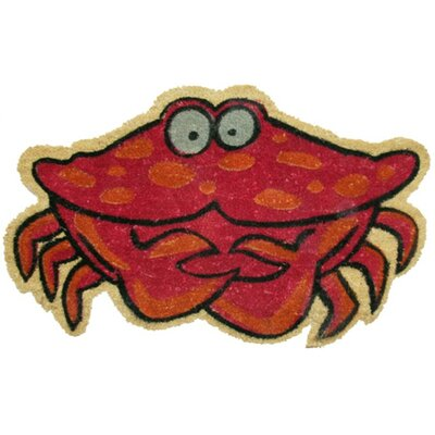 Crab Doormat Mat Size: Rectangle 14 x 24, Color: Red/Black