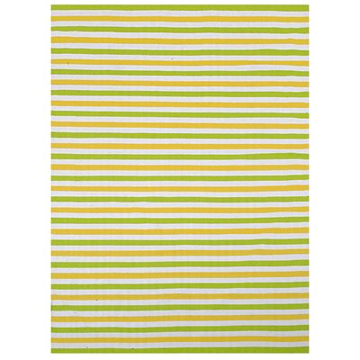 Lime Stripe Indoor/Outdoor Rug Rug Size: 5 x 8