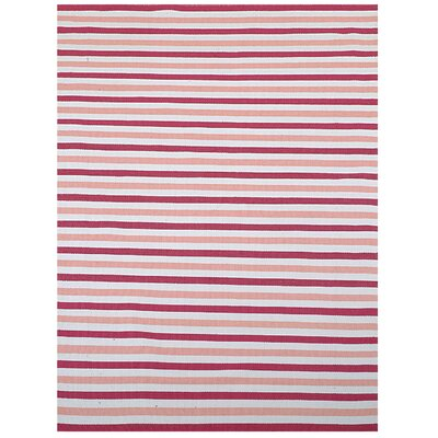 Pink Stripe Indoor/Outdoor Area Rug Rug Size: 8 x 11