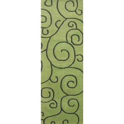 Alliyah Sarah Scrolls Green Area Rug Rug Size: Runner 2 x 8