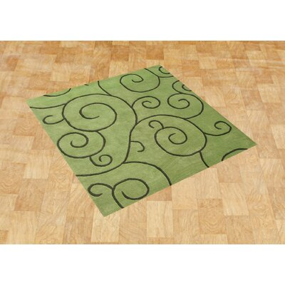 Alliyah Sarah Scrolls Green Area Rug Rug Size: Square 6