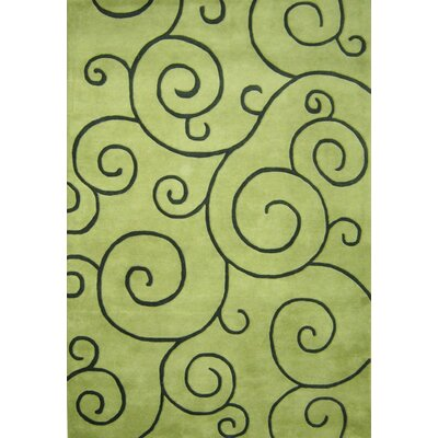Alliyah Sarah Scrolls Green Area Rug Rug Size: Rectangle 9 x 12