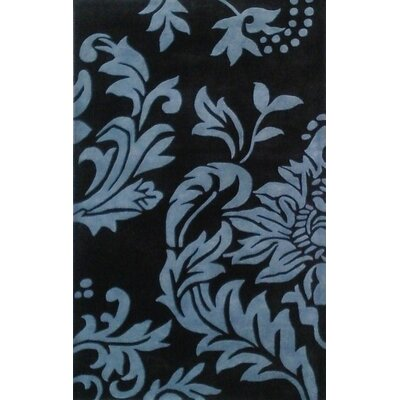 Alliyah Quill Feathers Black/ Charcoal Area Rug