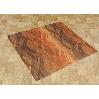 Alliyah Abstract Brown/Tan Area Rug Rug Size: Square 8