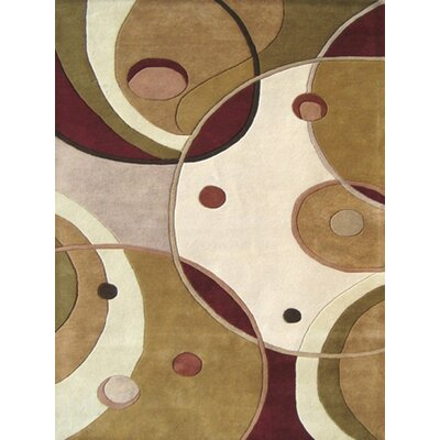 Alliyah Metro Circles Brown Area Rug