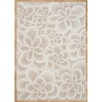 Alliyah Bleach Flowers Tan Area Rug Rug Size: 8 x 10