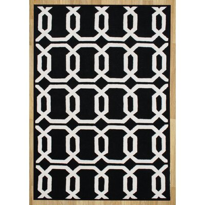 Alliyah Floridly Black Area Rug Rug Size: 8 x 10