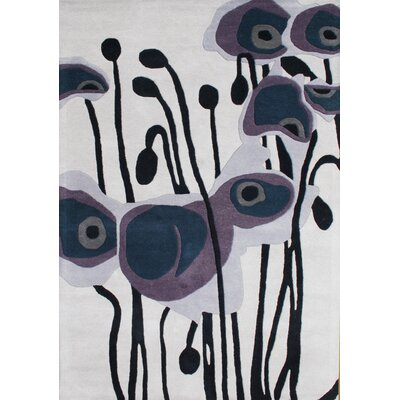 Allliyah Pencil Flower Grey/Purple Area Rug