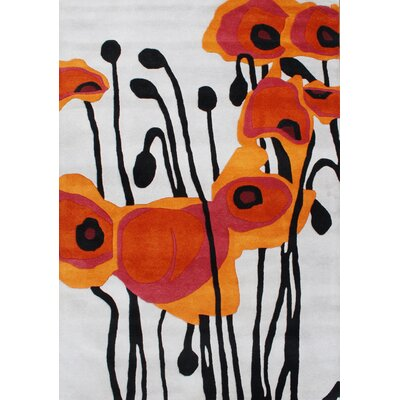 Alliyah Tulip Flower Grey/Orange Area Rug