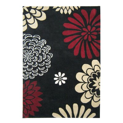Alliyah Giant Flowers Black Area Rug Rug Size: 5 x 8