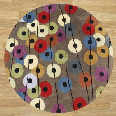 Alliyah Brown Area Rug Rug Size: Round 6