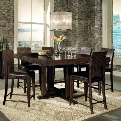 Portland Rectangular Sled Base Pub Dining Table in Distressed Dark Rich Tobacco