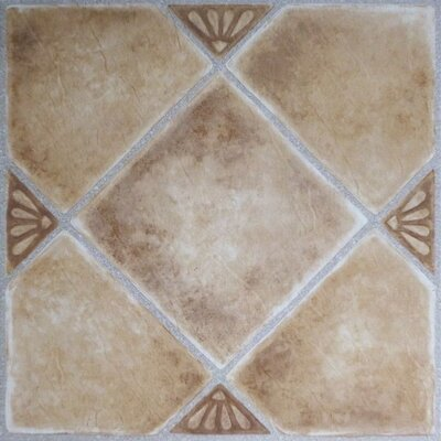 Tivoli Clay Diamond with Accents Self Adhesive 12 x 12 x 1.2mm Vinyl Tile in Beige
