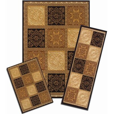 Winterton Sarouk Squares Synthetic Yellow Area Rug Set