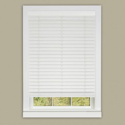 Cordless Faux Wood Venetian Blind Blind Size: 33 W x 64 L, Finish: White