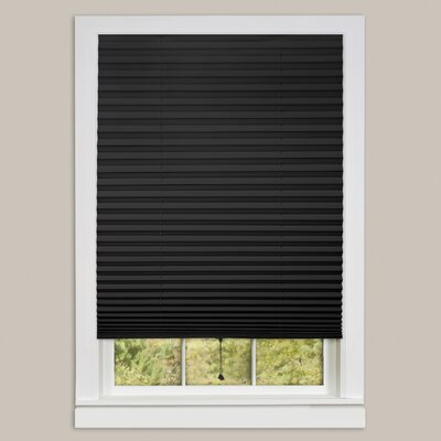 1-2-3 Vinyl Room Darkening Pleated Shade Color: Black, Size: 36 W x 75 L
