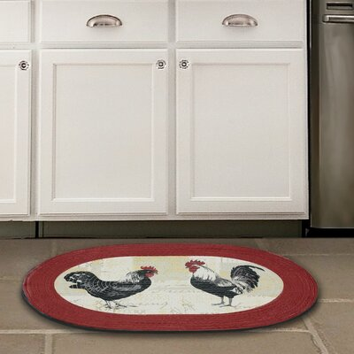 Rooster Red Area Rug Rug Size: 1'8