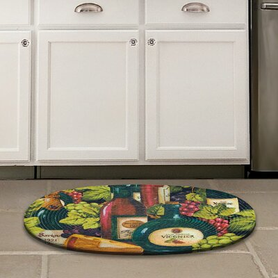 Chardonnay Red / Green Wine and Cheese Area Rug Rug Size: 18 x 26