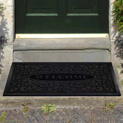 Glen View Swirl Welcome Doormat Color: Black