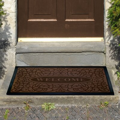 Swirl Welcome Doormat Color: Coffee