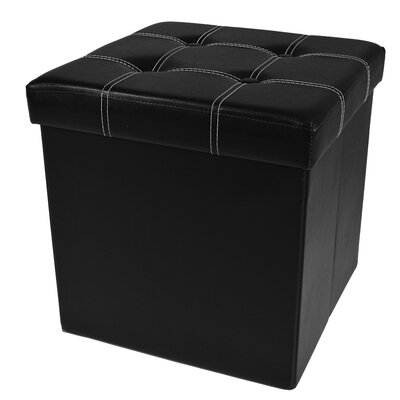 Watkins Collapsible Tufted Storage Ottoman Finish: Black