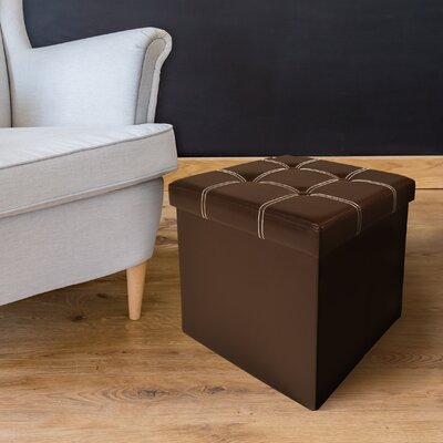 Watkins Collapsible Tufted Storage Ottoman Finish: Brown