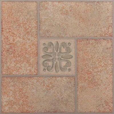 Tivoli Motif Center Self Adhesive 12 x 12 x 1.2mm Vinyl Tile in Beige Terracotta