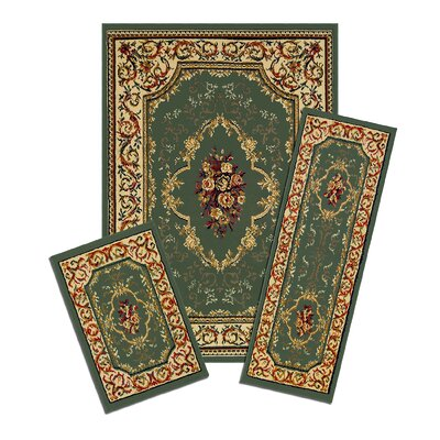 Capri 3 Piece Green Rose Garden Area Rug Set