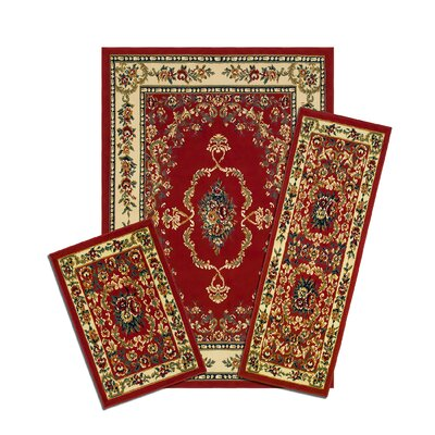 Capri 3 Piece Savonnerie Red Area Rug Set