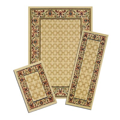 Capri 3 Piece Golden Lattice Area Rug Set