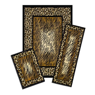 Capri 3 Piece Brown Leopard Skin Area Rug Set