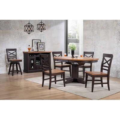 Yvonne Round Dining Table Color: Black Oak
