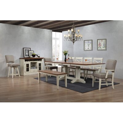 Yvonne Trestle Dining Table Color: Antique White
