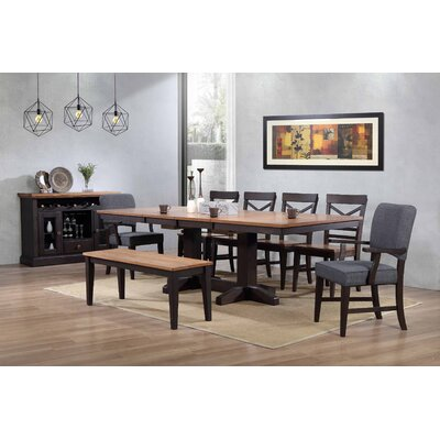 Yvonne Trestle Dining Table Color: Black Oak