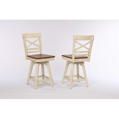 Yvonne X Back 2 Tone Counter Dining Chair (Set of 2) Color: Antique White