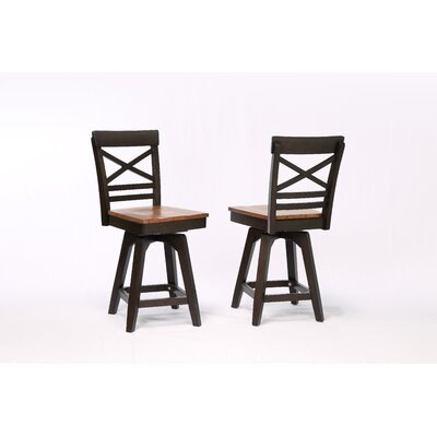 Yvonne X Back 2 Tone Counter Dining Chair (Set of 2) Color: Black Oak