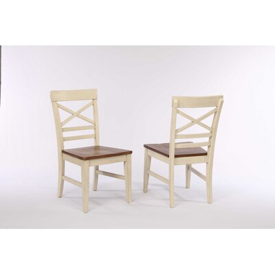 Yvonne X Back 2 Tone Dining Chair (Set of 2) Color: Antique White