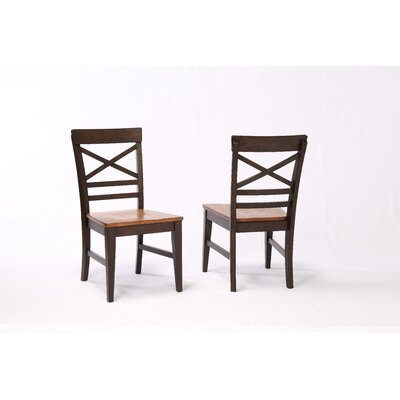 Yvonne X Back 2 Tone Dining Chair (Set of 2) Color: Black Oak